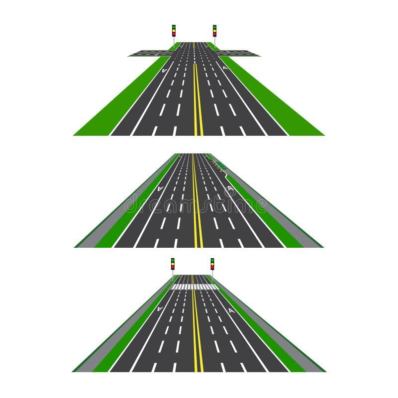 Reeks verschillende secties van de weg met kruisingen, fietsstegen, stoepen en kruisingen Perspectiefbeeld stock illustratie