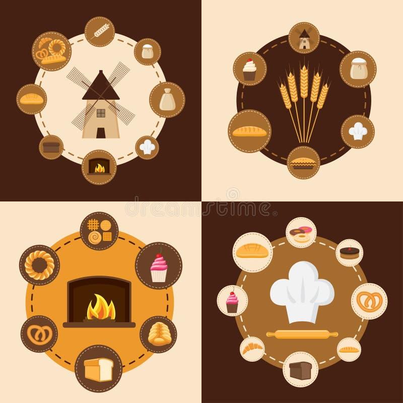 Reeks verschillende soorten brood, zoete gebakjes en bakkerijproducten vector illustratie