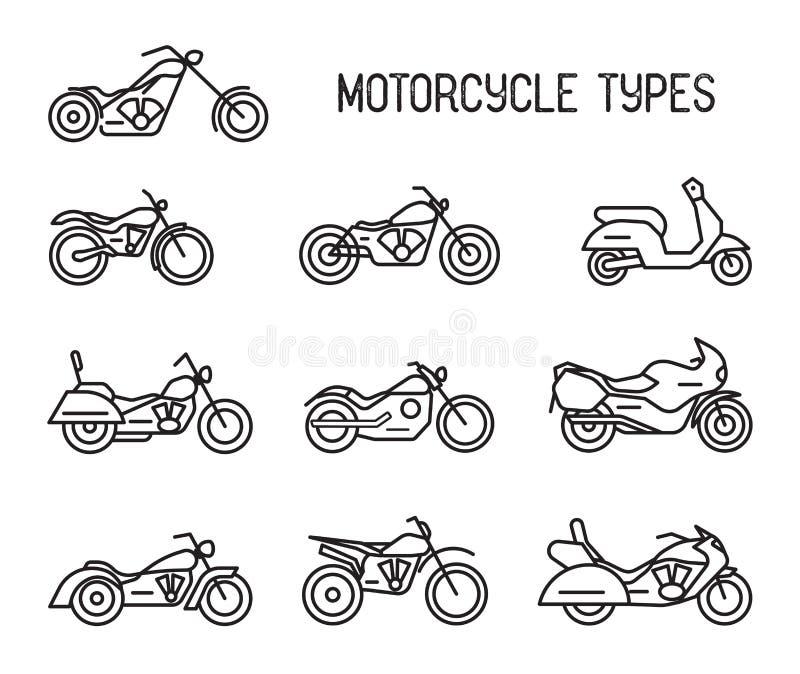 Reeks verschillende soorten mototechnics Motorfietsen en bromfietsen, lineart pictogrammen Inzamelings zwart-witte vector royalty-vrije illustratie