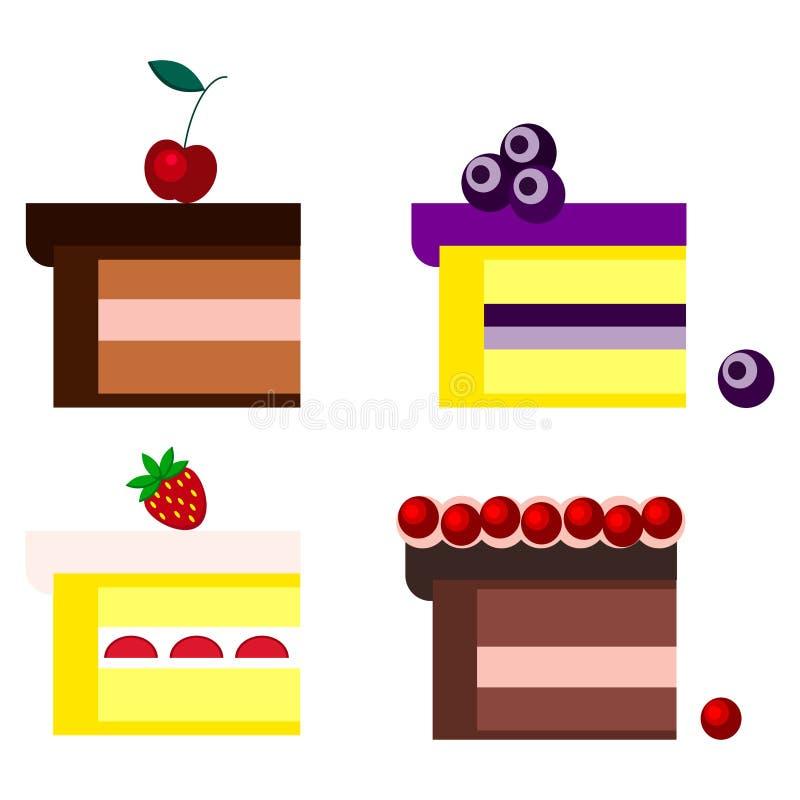 Reeks verschillende stukken chocolade en koekjesbiscuitgebak met kers, bosbessen, aardbeien, Amerikaanse veenbessen stock illustratie