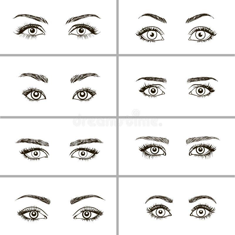 Reeks verschillende types van ogen vector illustratie