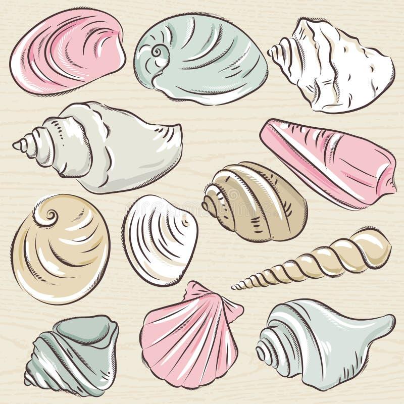 Reeks verschillende types van tweekleppige schelpdieren en shells op een beige grungebedelaars royalty-vrije illustratie