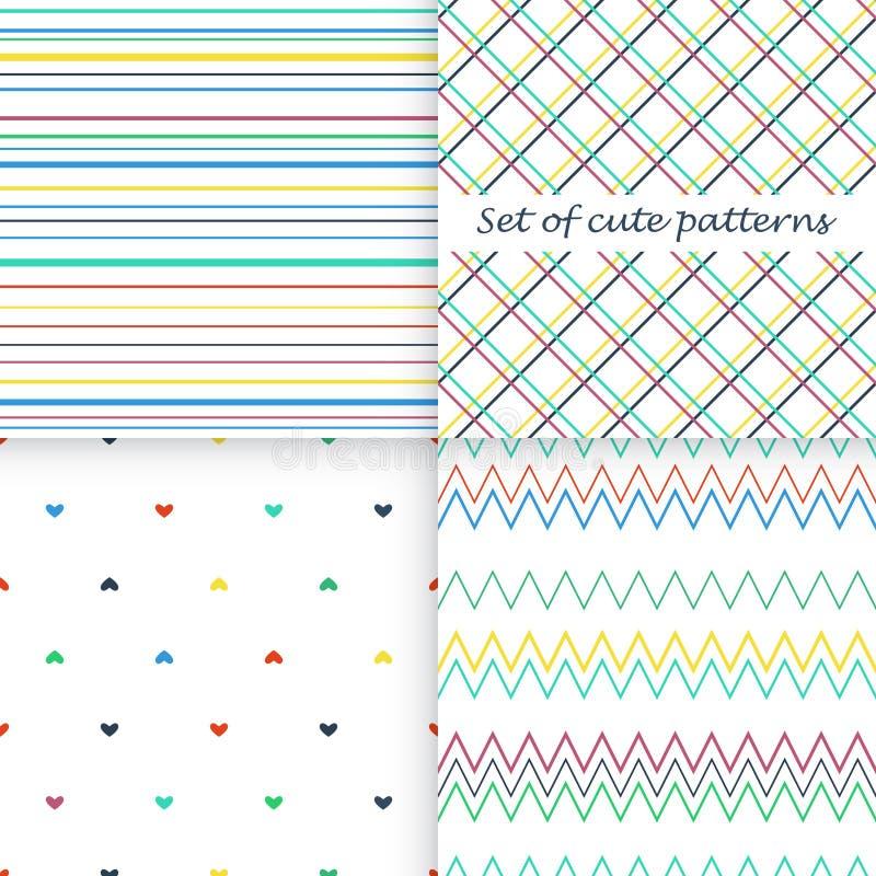 Reeks verschillende vector naadloze patronen vector illustratie