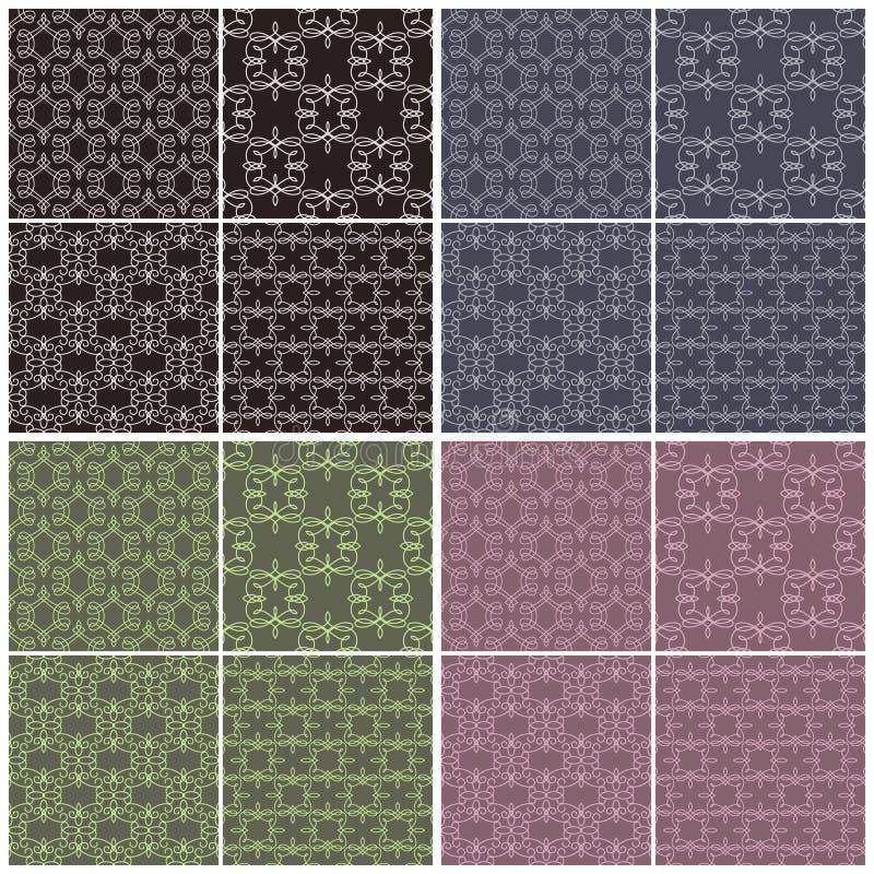 Reeks verschillende vector naadloze patronen in vier kleurenschema's vector illustratie