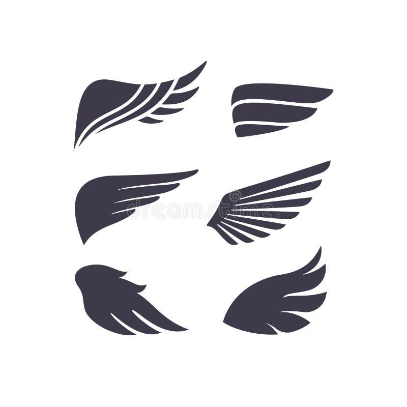Reeks Verschillende VectordieVleugelsvormen op Witte Achtergrond worden geïsoleerd Het Silhouet van vogelvleugels royalty-vrije illustratie