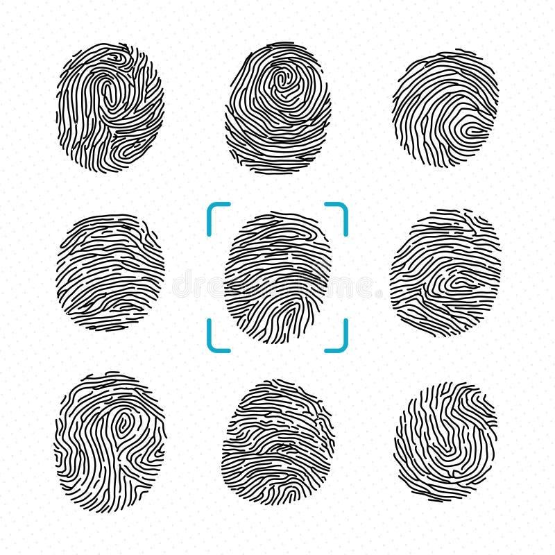 Reeks verschillende vingerafdrukken Politiescanner voor misdadige identiteit Vector zwart-wit illustraties vector illustratie