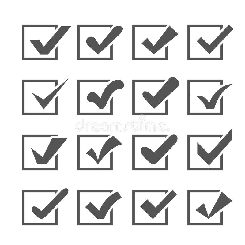 Reeks verschillende vinkjes of tikken in dozen vector illustratie