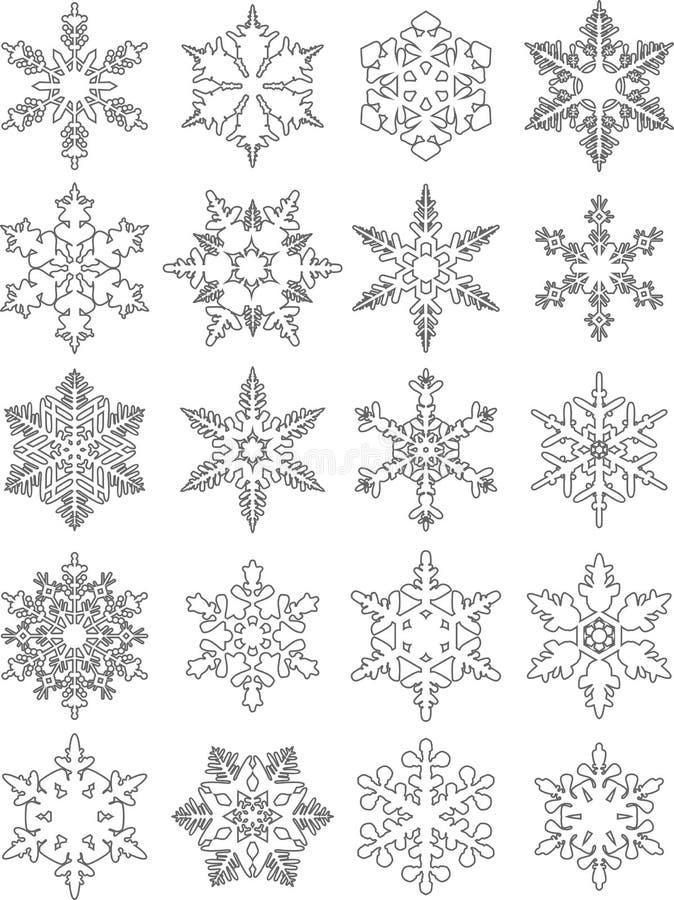 Reeks verschillende vlakke lineaire die pictogrammen van silhouettensneeuwvlokken op witte achtergrond wordt geïsoleerd Vector il stock illustratie