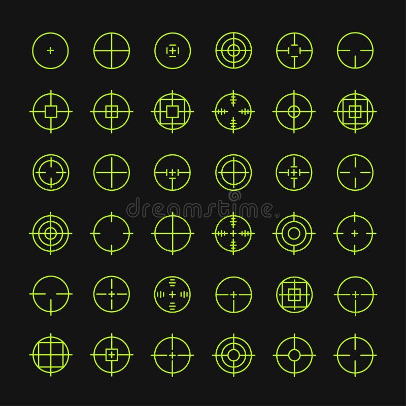 Reeks verschillende vlakke vectorpictogrammen van het crosshairteken royalty-vrije illustratie