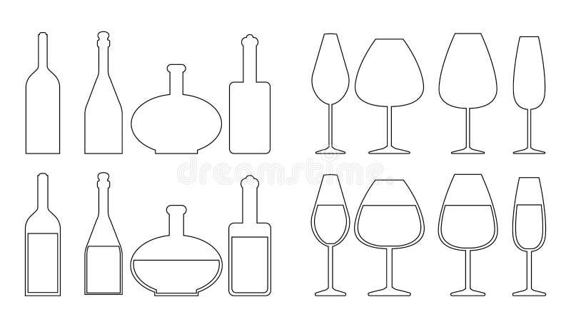 Reeks verschillende wijnflessen en wijnglazen royalty-vrije illustratie