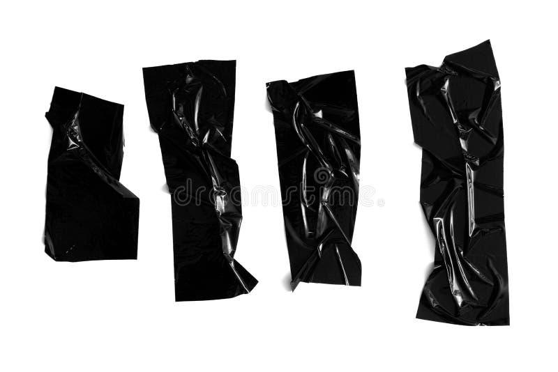 Reeks verschillende zwarte Schotse kleverige die plakband op witte achtergrond wordt geïsoleerd Gescheurde verfrommelde sellotape royalty-vrije stock fotografie