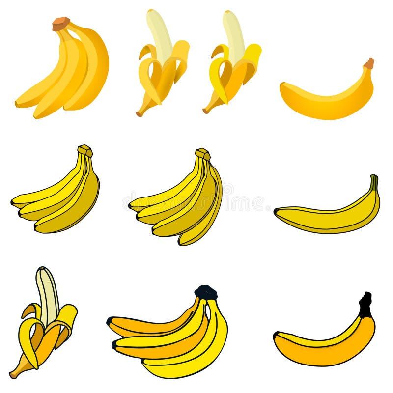 Reeks verse banaanpictogrammen vector illustratie
