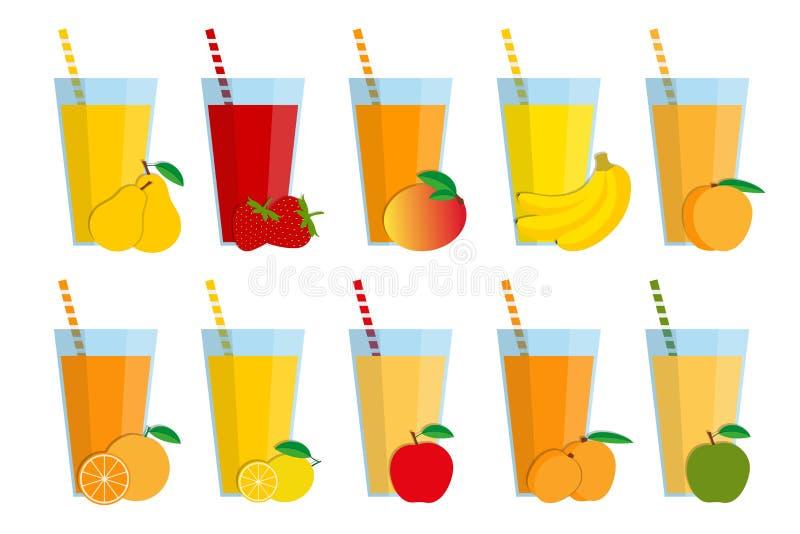 Reeks verse vruchtensappen en cocktails, fruit smoothie royalty-vrije illustratie
