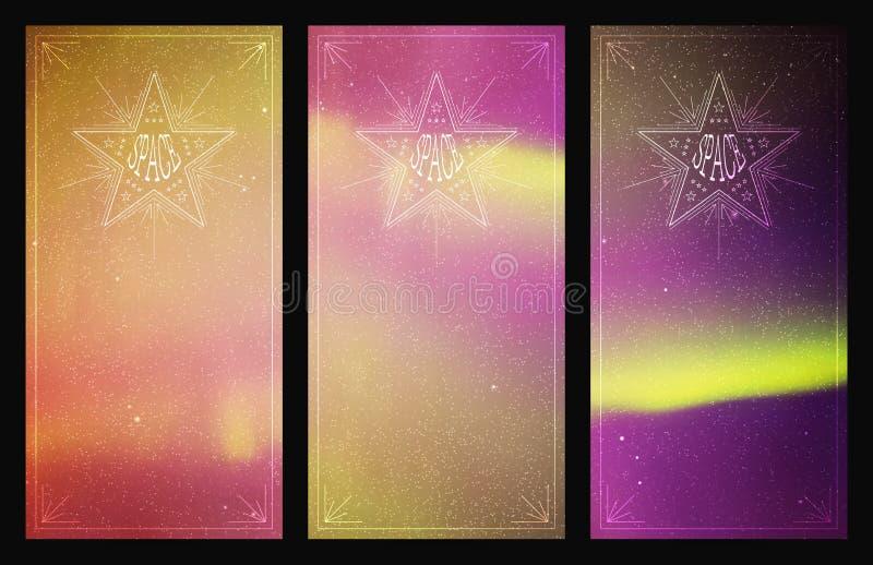 Reeks verticale banners met mooie sterrige hemel en Noordelijke lichten vector illustratie