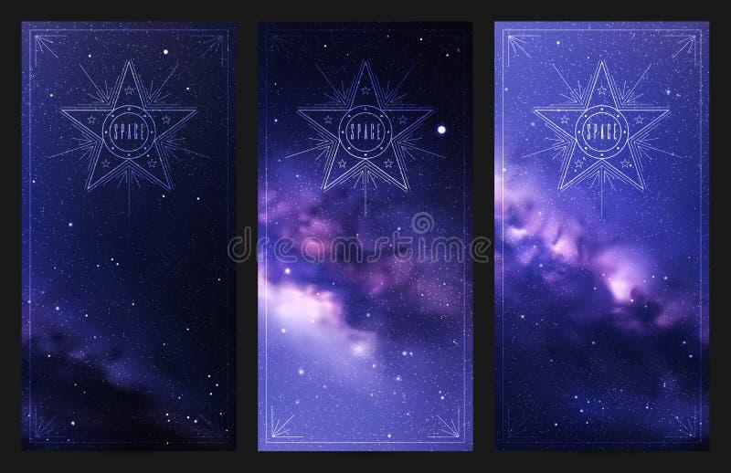 Reeks verticale banners met nacht sterrige hemel en Melkweg stock illustratie