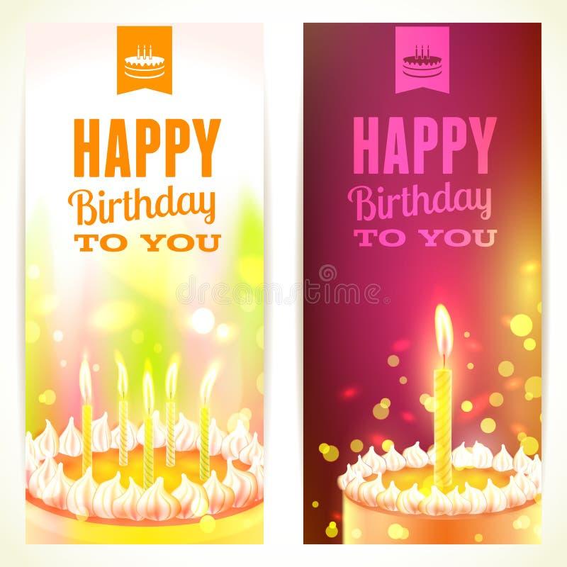 Reeks Verticale 'Gelukkige Verjaardags' Banners Vector illustratie royalty-vrije illustratie