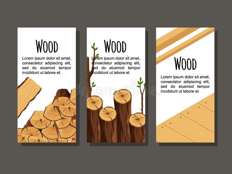 Reeks verticale materialen van het bannerbrandhout voor de timmerhoutindustrie Inzameling van van de de stompboom van vliegers ho royalty-vrije illustratie