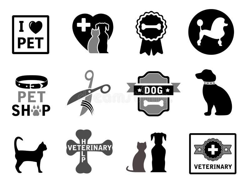 Reeks veterinaire conceptenpictogrammen royalty-vrije illustratie
