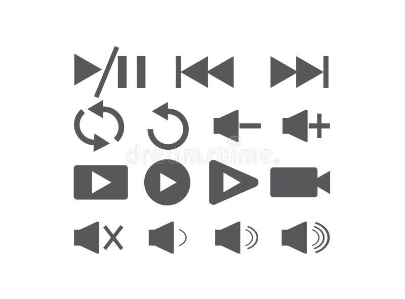 Reeks videopictogrammen voor de illustrator, het spel en de pauze en repet het symbool van het embleemontwerp vector illustratie