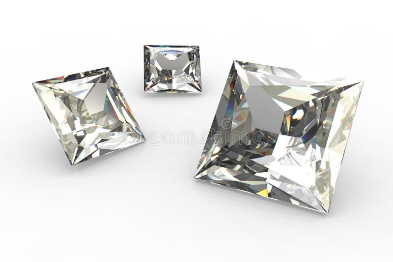 Reeks vierkante 3D diamanten - royalty-vrije illustratie