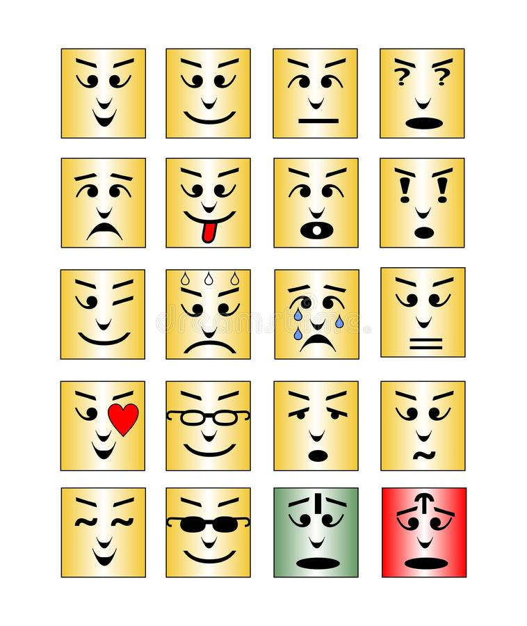 Reeks vierkante emoticongezichten, inzameling van geïsoleerde vectoremoji stock illustratie