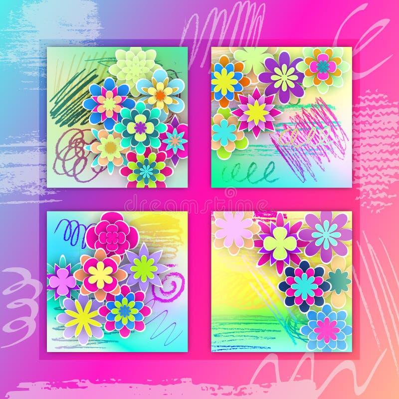 Reeks Vierkante Kaarten met Kleurrijke Document Bloemen stock illustratie