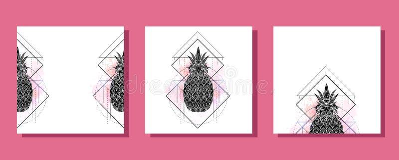 Reeks vierkante kaarten met mystieke illustratie van een ananas met een contourtekening, roze waterverfplonsen Affiche met magisc vector illustratie