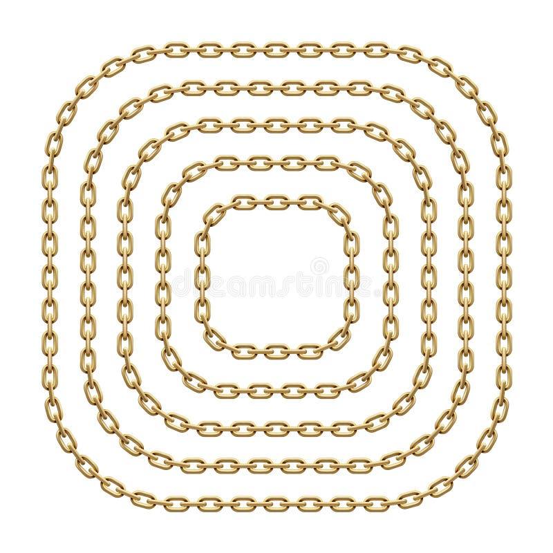 Reeks vierkante kaders met rond gemaakte die hoeken van gouden kettingen worden gemaakt Vectormalplaatjeillustratie vector illustratie
