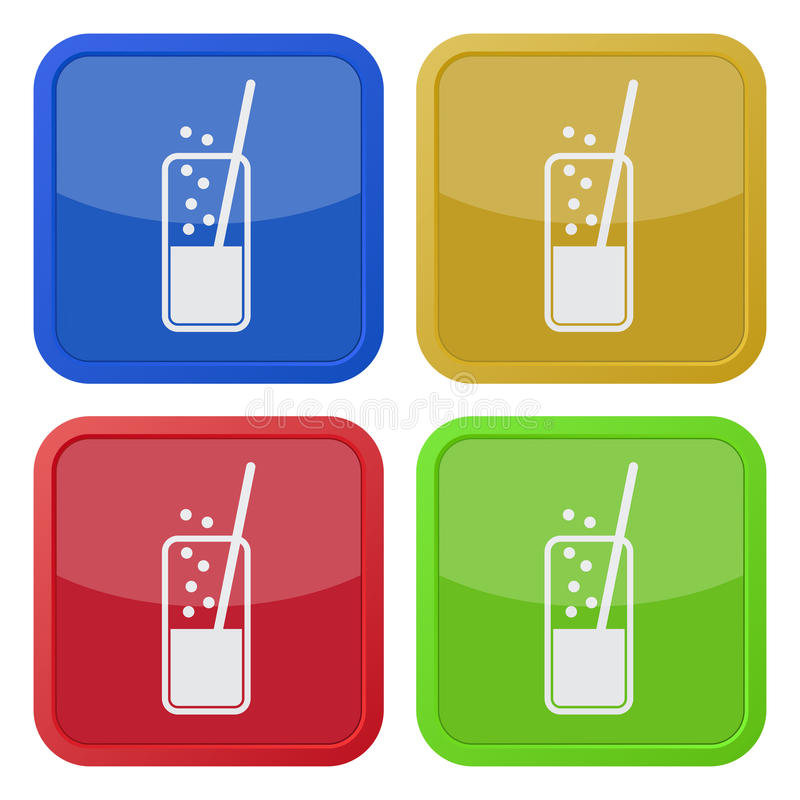 Reeks vierkante pictogrammen - glas, drank en stro stock illustratie