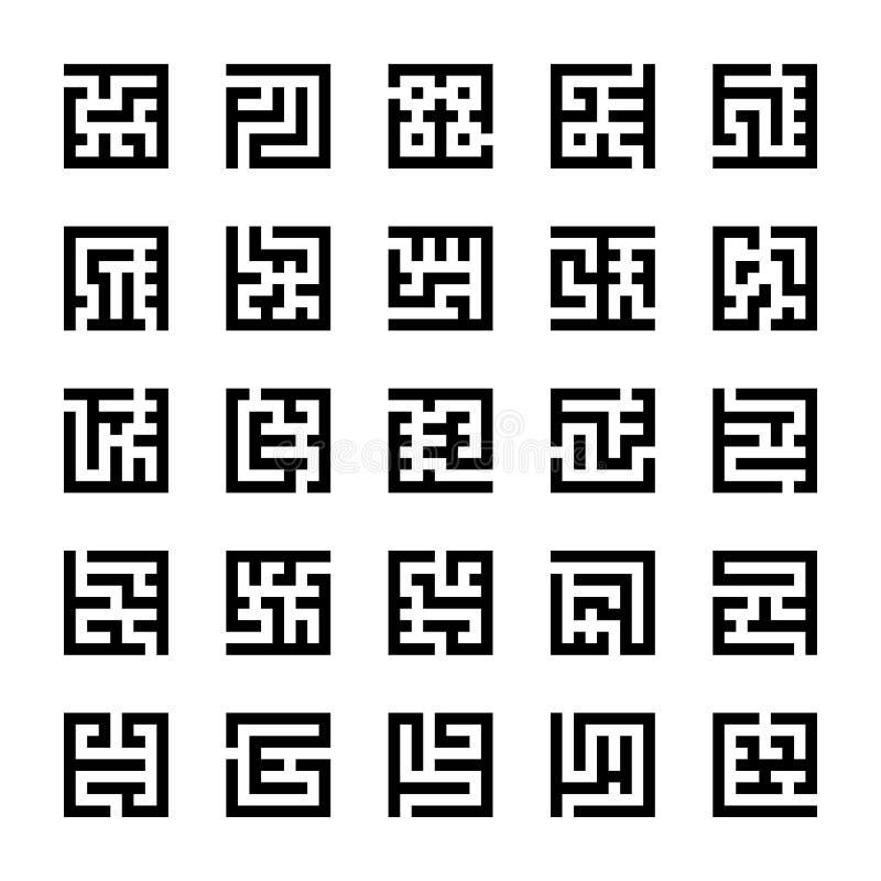 Reeks vierkante pictogrammen van het labyrintlabyrint royalty-vrije illustratie