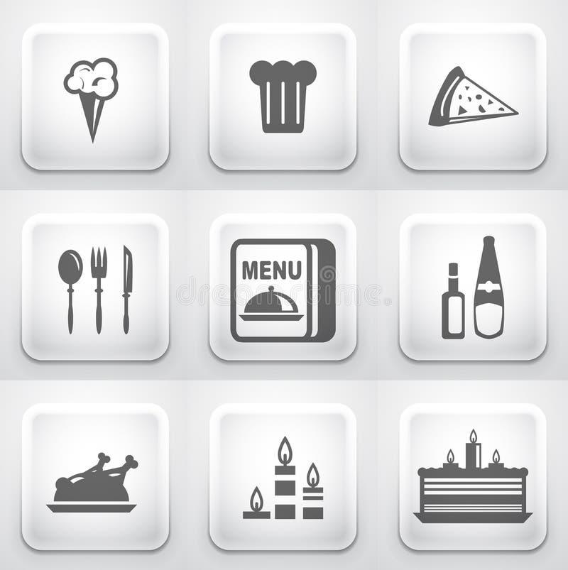Download Reeks Vierkante Toepassingsknopen: Restaurant Stock Illustratie - Illustratie bestaande uit operating, schotel: 29501040