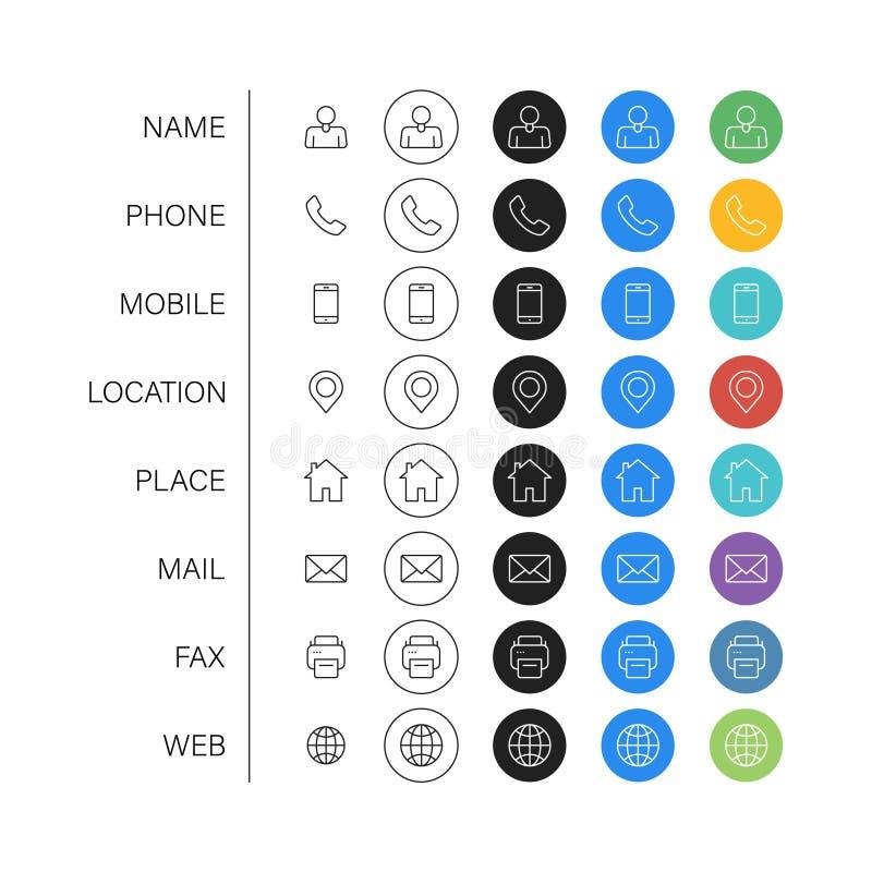 Reeks Visitekaartjepictogrammen Naam, mobiele telefoon, plaats, plaats, post, fax, Web Contacteer ons, informatie, mededeling Vec vector illustratie