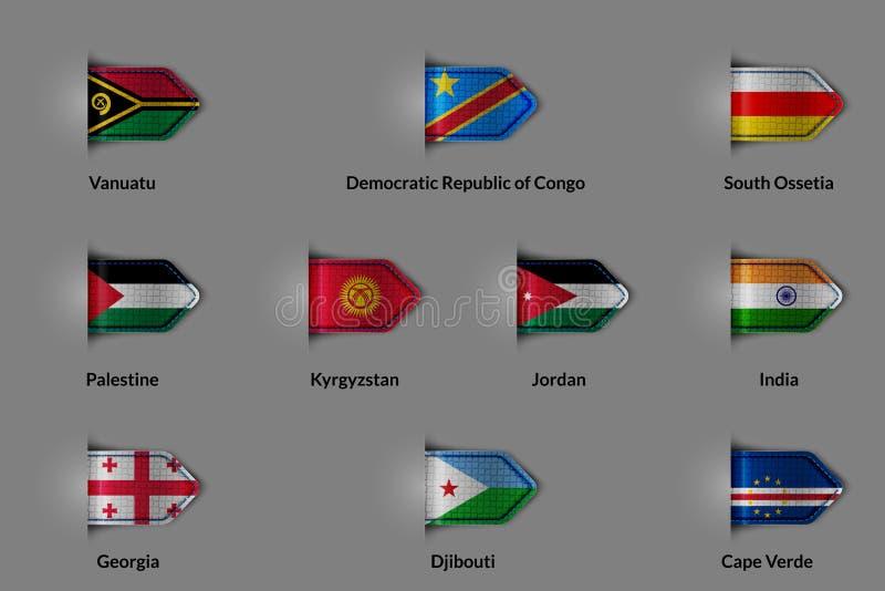 Reeks vlaggen in de vorm van een glanzende geweven etiket of een referentie stock illustratie