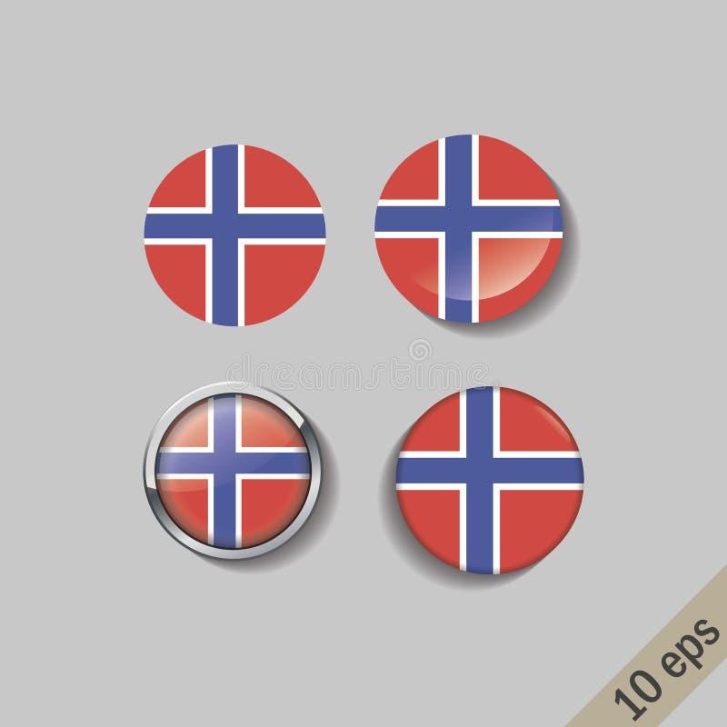 Reeks vlaggen van NOORWEGEN om kentekens royalty-vrije illustratie