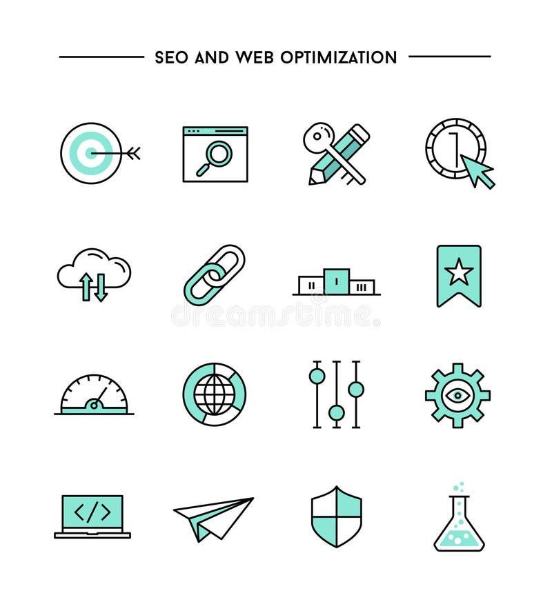 Reeks vlak ontwerp, dunne lijnseo en pictogrammen van de Weboptimalisering vector illustratie