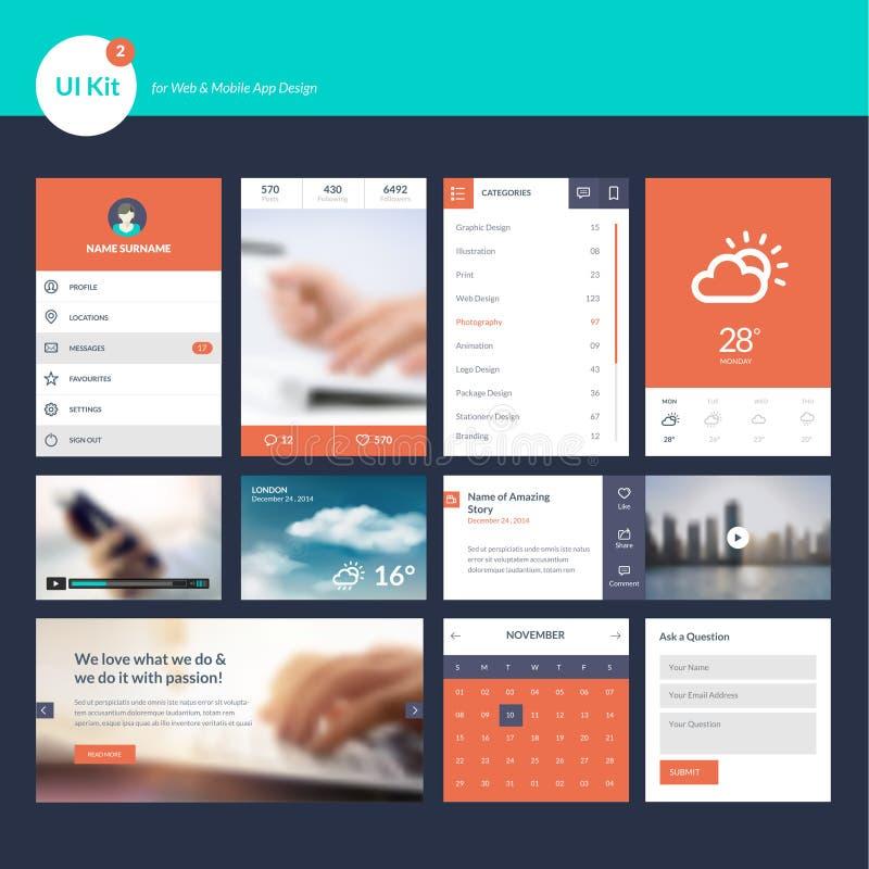 Reeks vlak ontwerp UI en UX-elementen voor Web en app stock illustratie