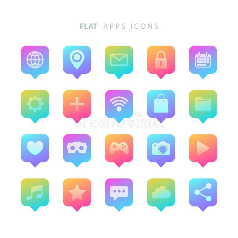 Reeks vlakke appspictogrammen van de kleurengradiënt stock illustratie