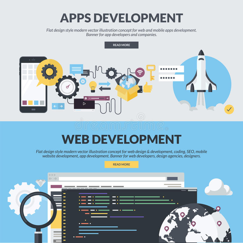 Reeks vlakke banners van de ontwerpstijl voor Web en app ontwikkeling royalty-vrije illustratie