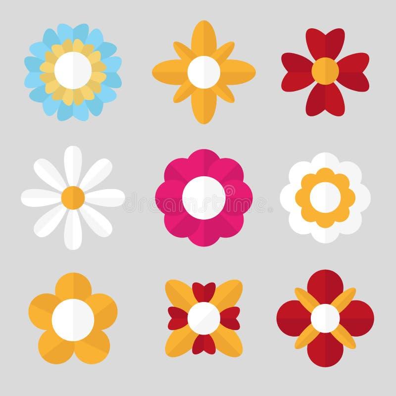 Reeks vlakke bloemen Bloesem Vector illustratie stock illustratie