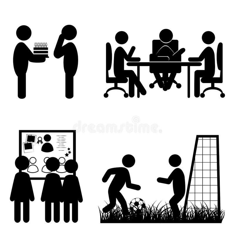 Reeks vlakke bureau interne communicatie die pictogrammen op whi wordt geïsoleerd stock illustratie