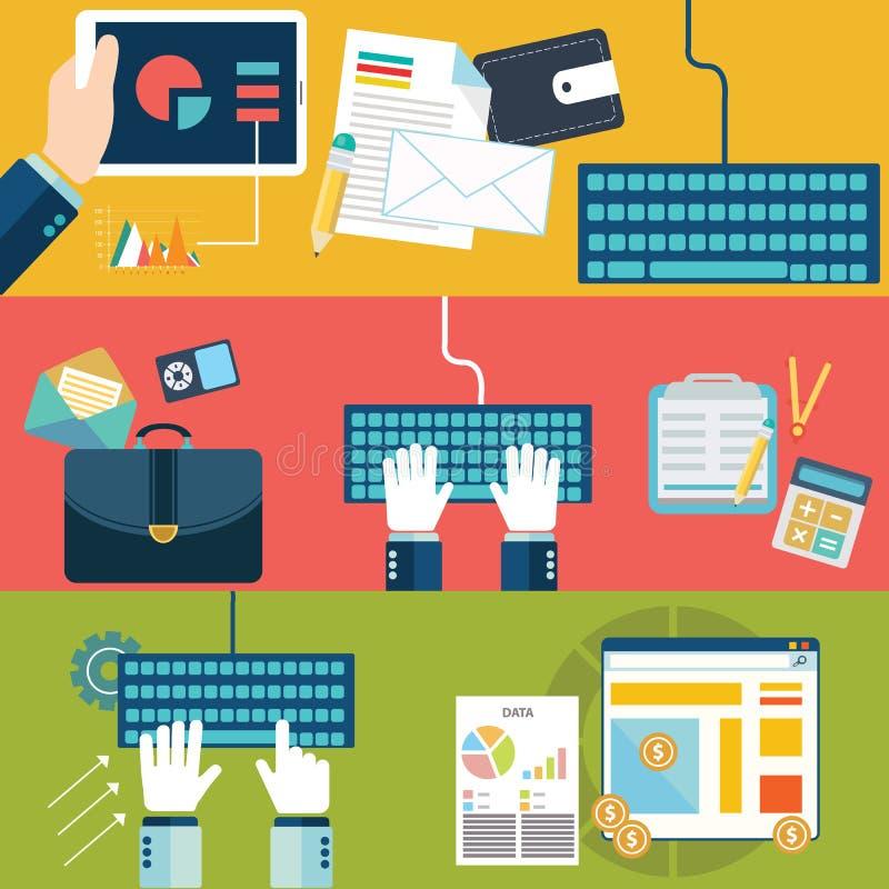 Reeks vlakke concepten van de ontwerp vectorillustratie voor websitelay-out, de mobiele telefoondiensten en apps, computertablet royalty-vrije illustratie