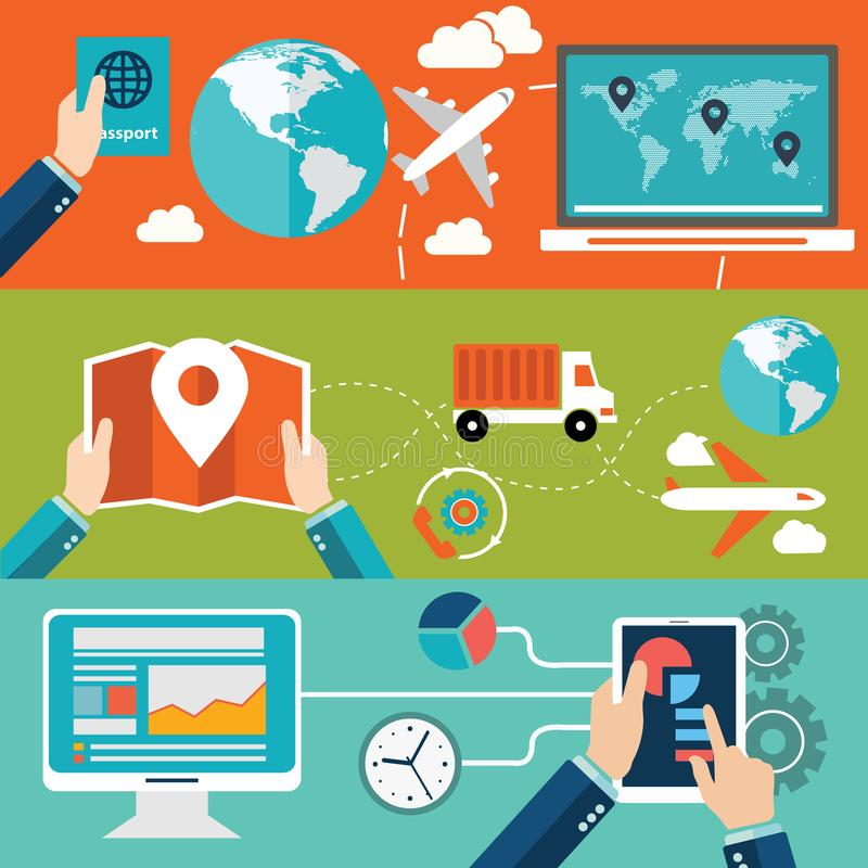 Reeks vlakke concepten van de ontwerp vectorillustratie voor websitelay-out, de mobiele telefoondiensten en apps, computertablet  vector illustratie