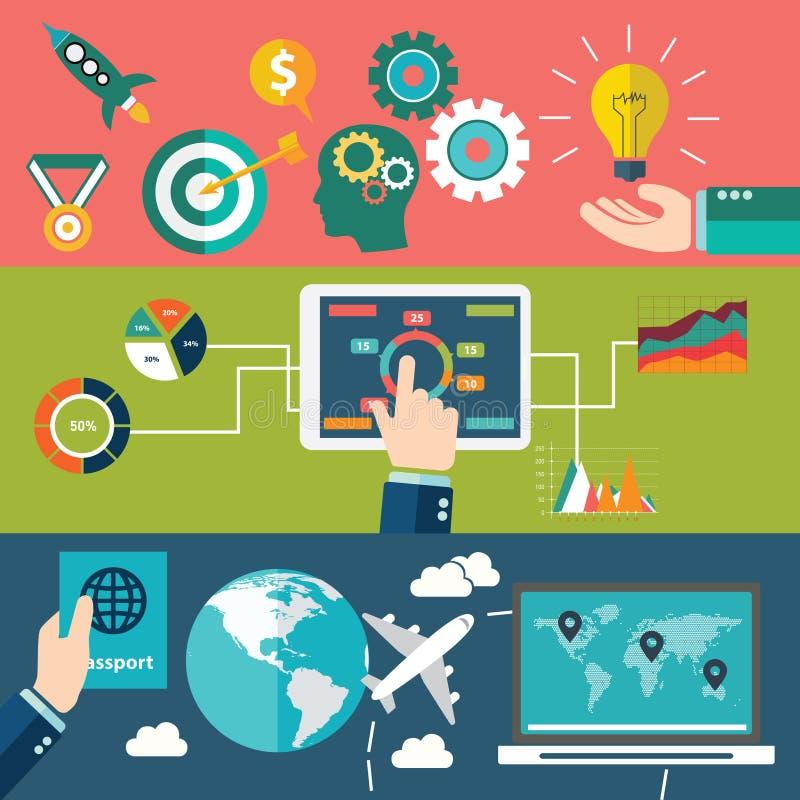 Reeks vlakke concepten van de ontwerpillustratie voor planning, groepswerk en opdracht stock illustratie