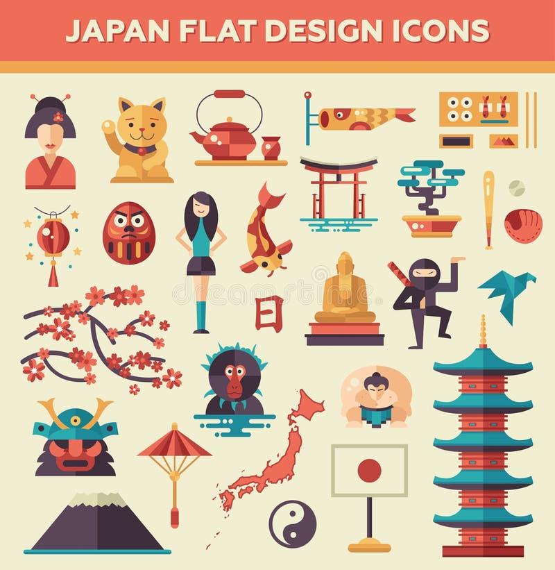Reeks vlakke de reispictogrammen van ontwerpjapan vector illustratie