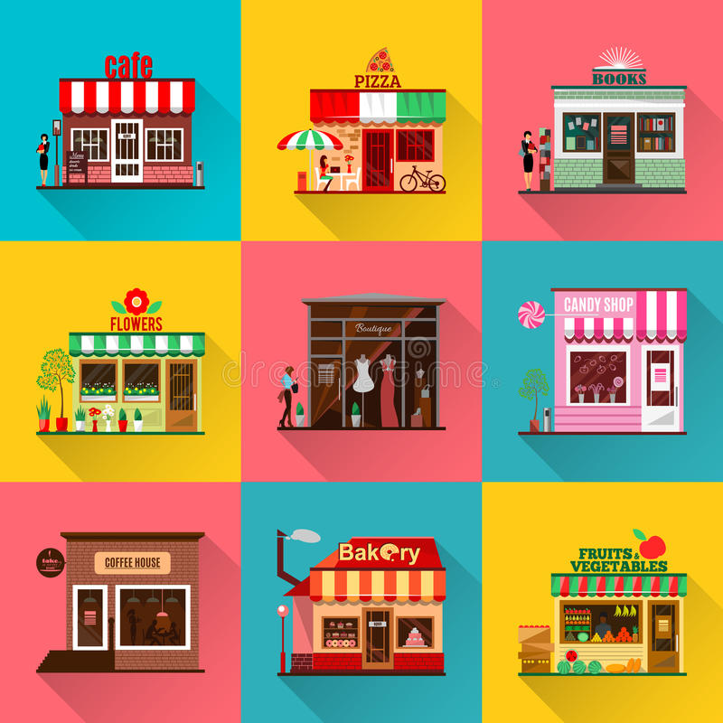 Reeks vlakke de winkelbouw voorgevelspictogrammen met schaduw stock illustratie