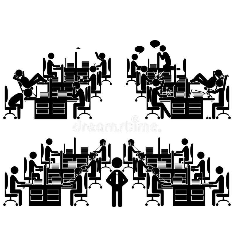 Reeks vlakke die pictogrammen van de bureausituatie op wit wordt geïsoleerd vector illustratie