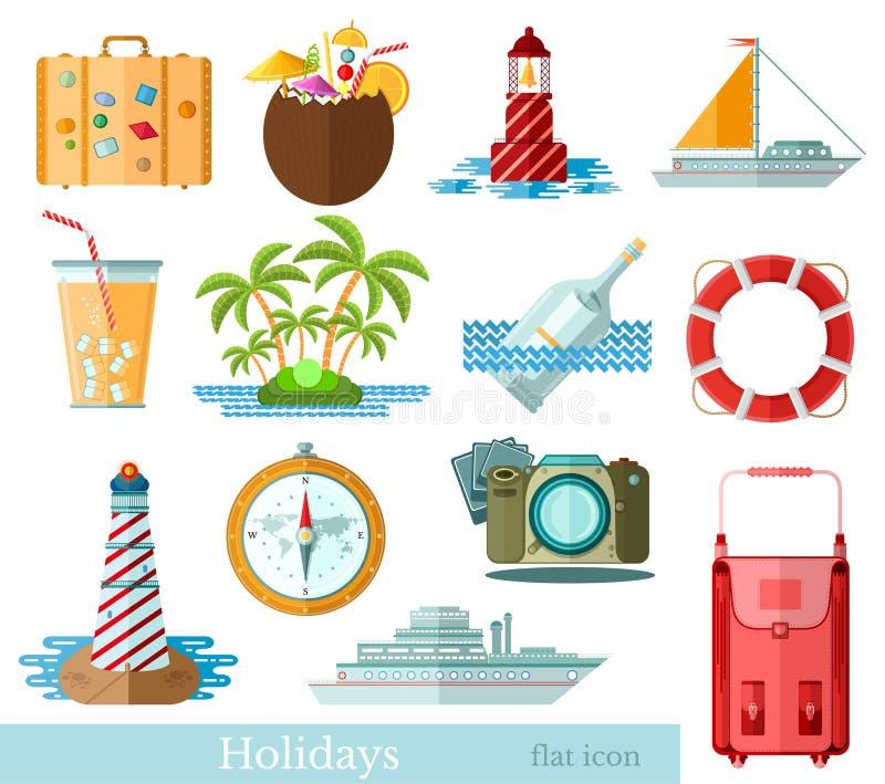 Reeks vlakke die vakantie en vakantiepictogrammen op wit worden geïsoleerd royalty-vrije illustratie