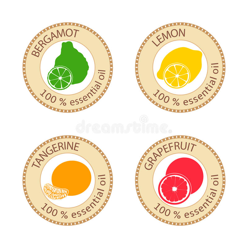 Reeks vlakke etherische olieetiketten 100 percenten Bergamot, citroen, grapefruit, mandarijn stock illustratie