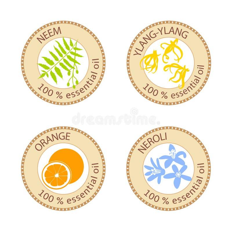 Reeks vlakke etherische olieetiketten 100 percenten Kananga-olie, neem, neroli, sinaasappel royalty-vrije illustratie