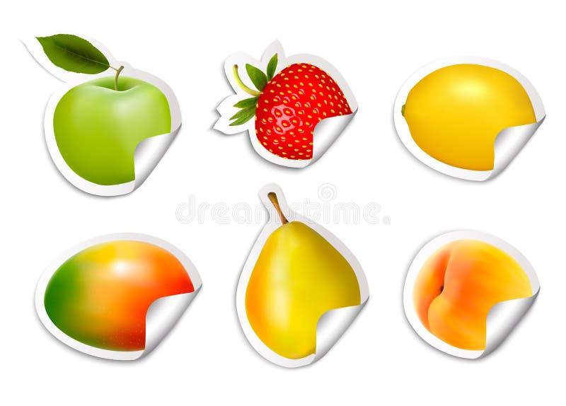 Reeks vlakke fruitstickers stock illustratie